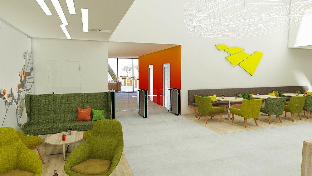 Hall d'entrée avec espace de coworking