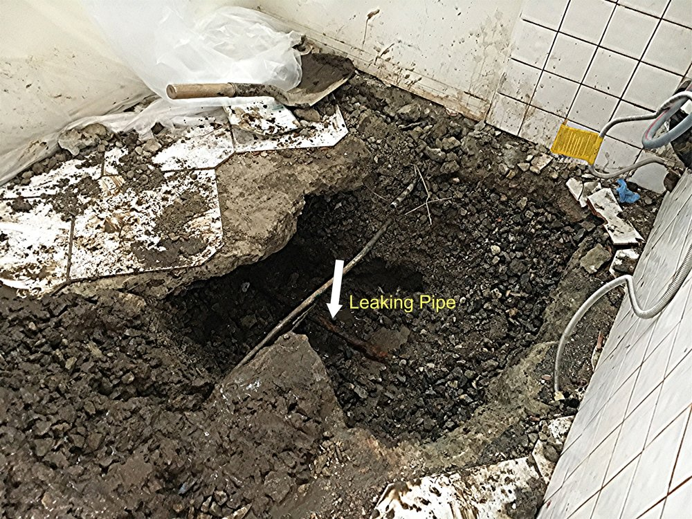 The offending pipe under the Laundry Room floor.