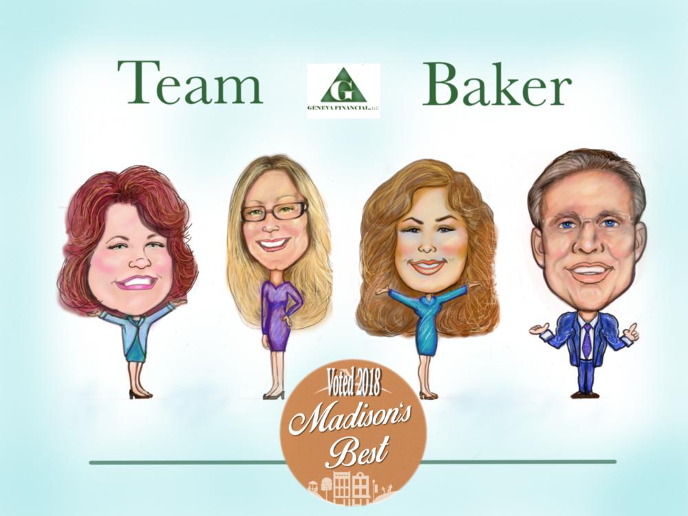Caricature Geneva Team Baker: Kelly Seel, Katie Henderson, Cindy Baker, Michael A. Baker