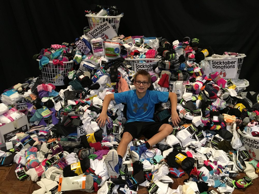 The Ehle Family started a Socktober drive at St. Peter's Lutheran School in Fort Wayne, Indiana and in the drive's third year, they collected 4,833 pairs of socks. According to their local shelter, the school's drive put socks on the feet of every homeless resident in Fort Wayne!