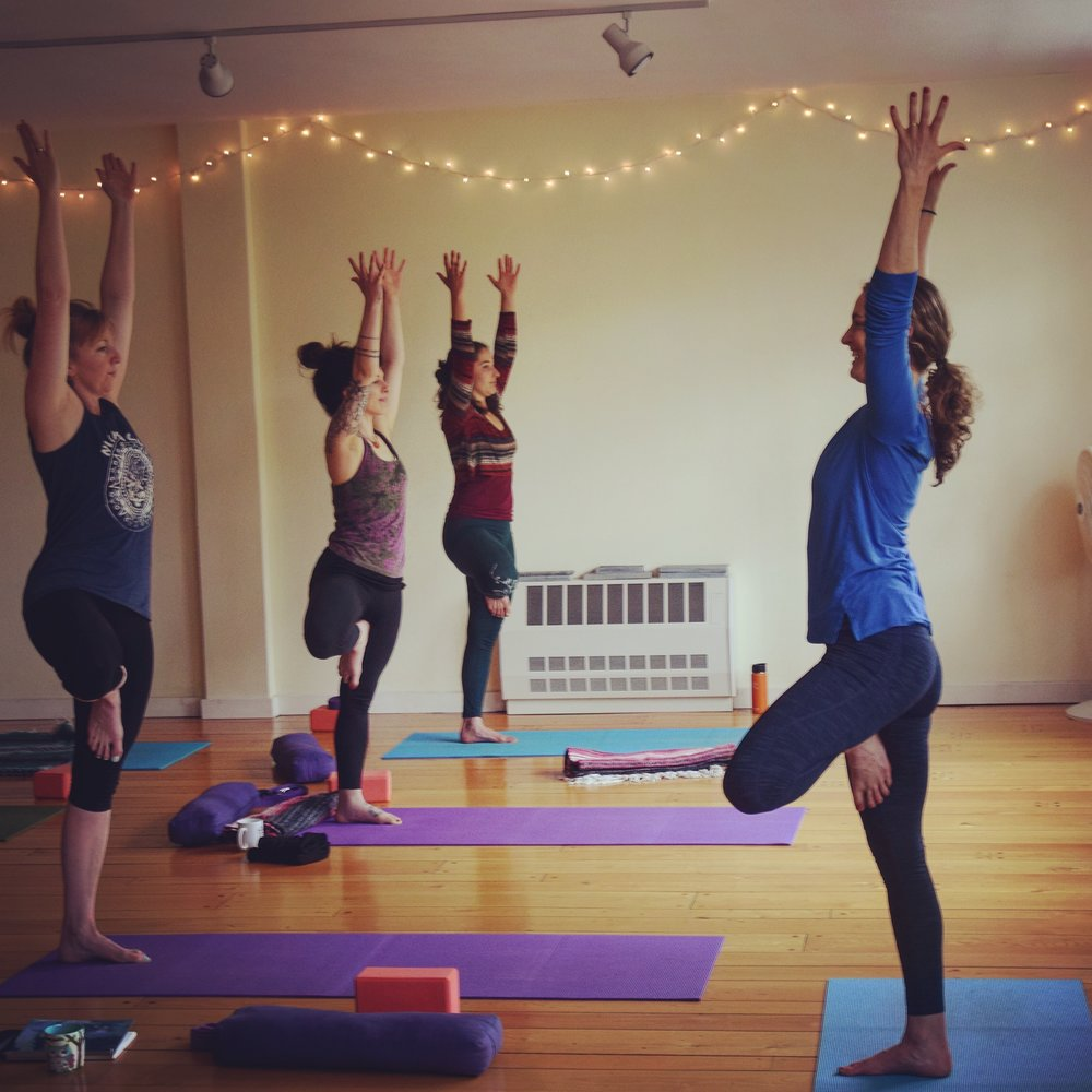 Teaching Vrkshasana (Tree Pose) at Community Yoga.