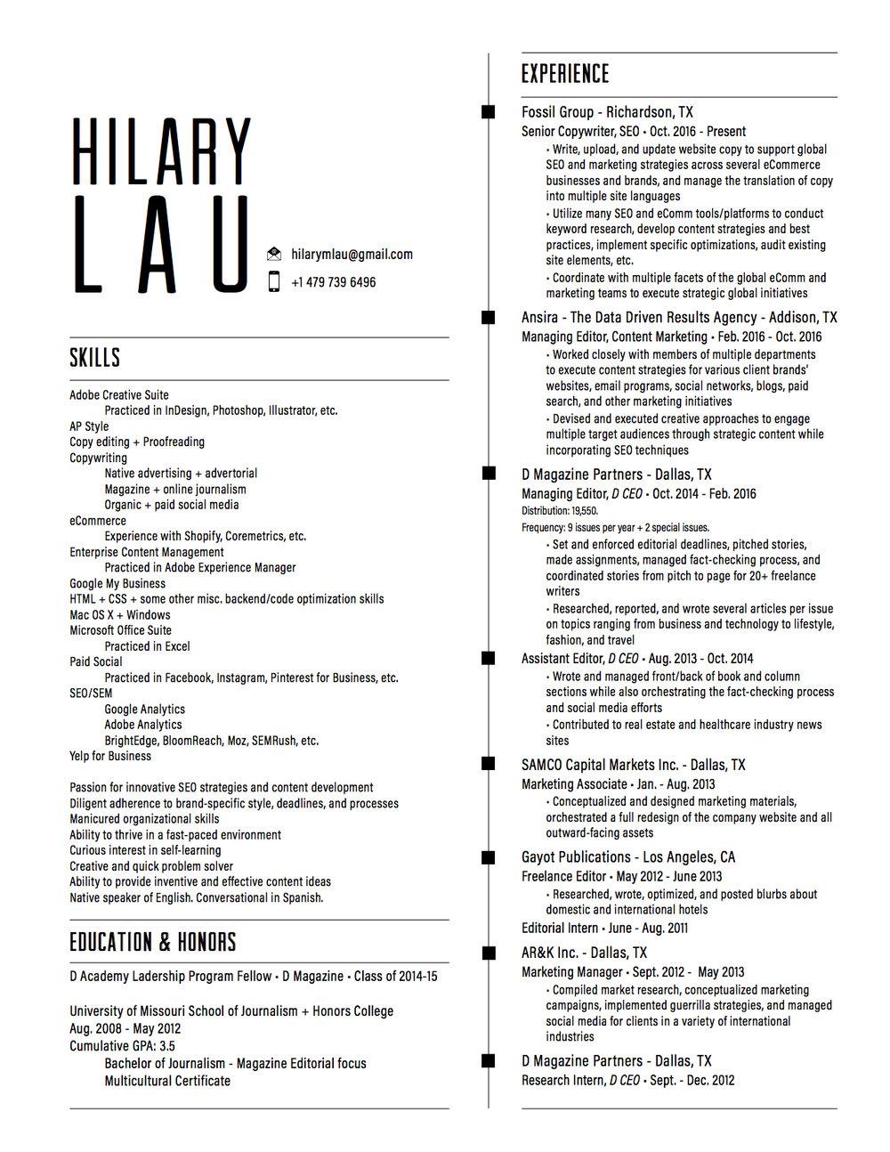 Resume Hilary Lau