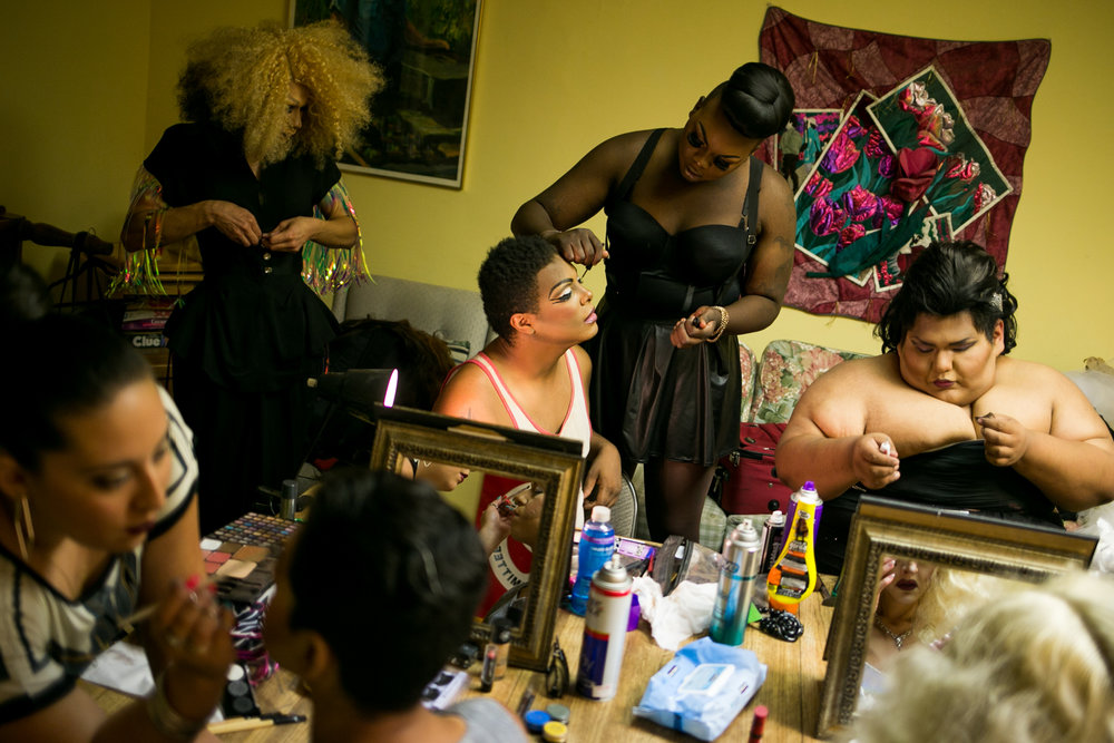 25 July 2015, Yakima, Wash. --- Drag show participants prepare for the Yakima Downtown Pride celebration's drag show late Saturday night at the Rainbow Cathedral. More than a hundred came out to watch the dozen of drag show queens and kings from all Washington State. (Copyright Yakima Herald-Repubic)
