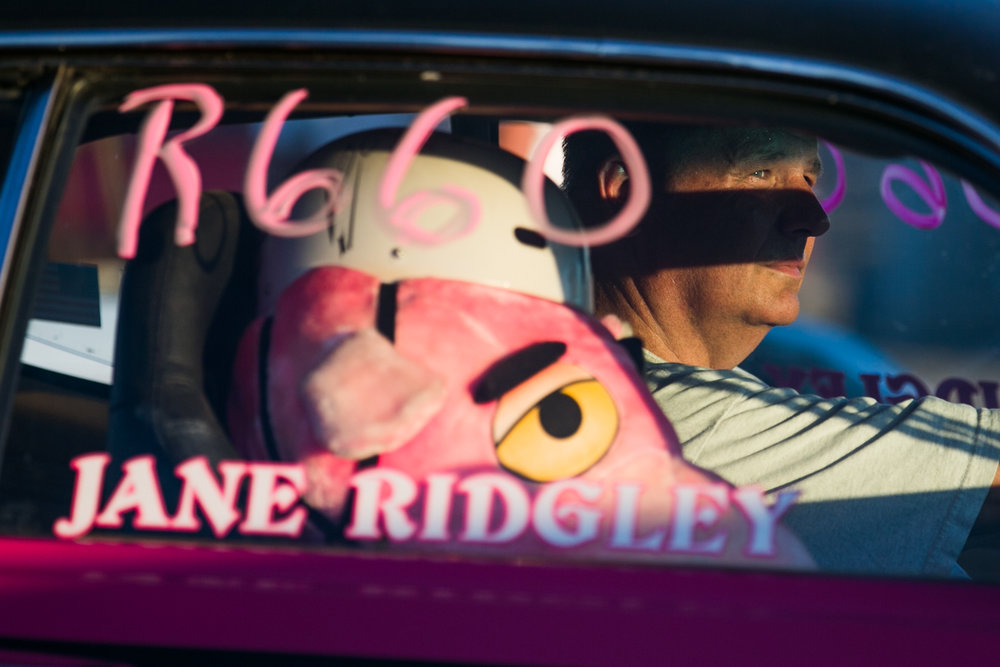 26 June 2015, Wapato, Wash. --- Jane Ridgley rides with his Pink Panther stuffed animal as he watches the Christmas tree before competing in the the 6th Annual Nitro Nights Under the Lights at Renegade Raceway. (Copyright Yakima Herald-Republic)