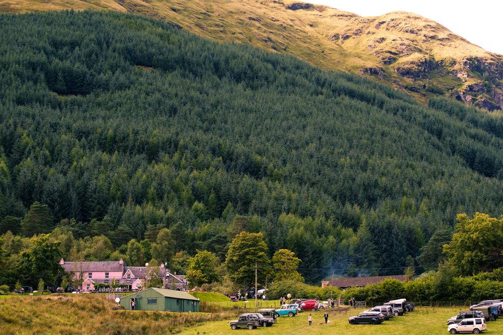 Monachyle Mhor near Balquidder, Scotland. Superb scenery for Defender Jam 2017