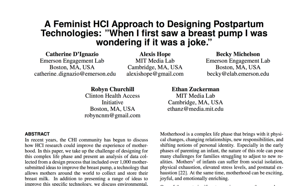 A Feminist HCI Approach to Designing Postpartum Technologies - 2015