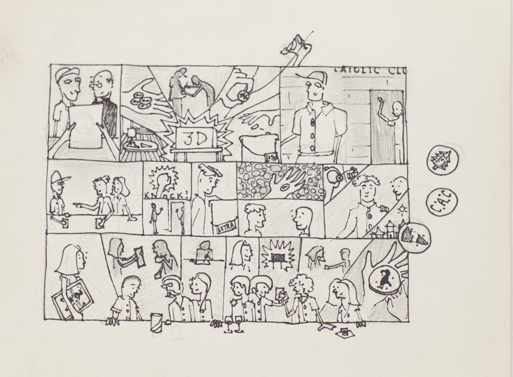 A part of Corey's storyboard drawings explaining the service process. -