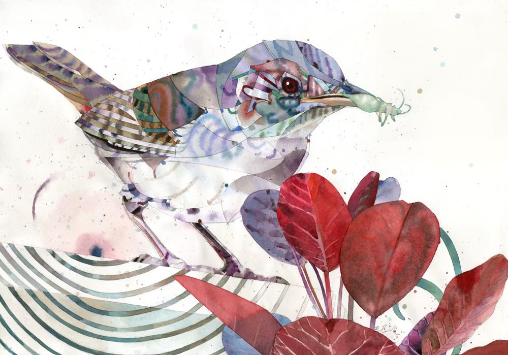"""Chirp319 and a side of leaves 13x18"""""""