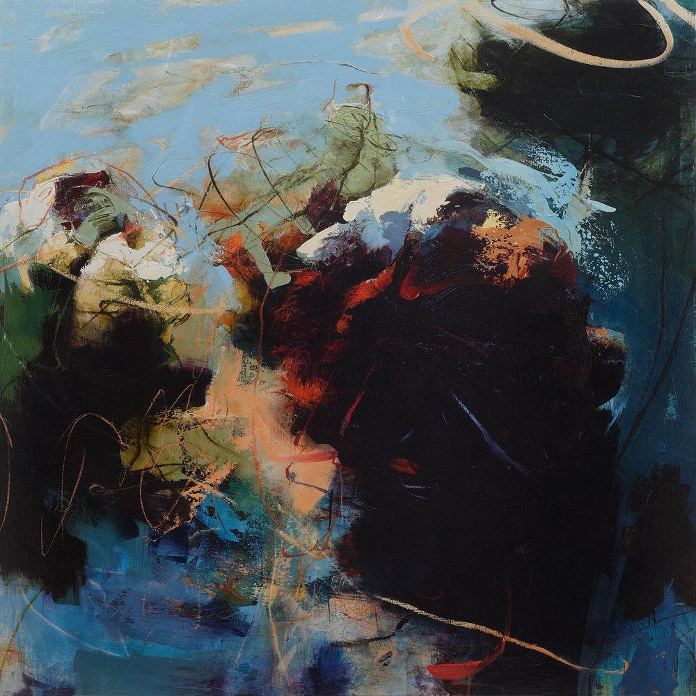 """Cerulean Figs II, Oil, alkyd, wax on linen, 62"""" x 62"""""""