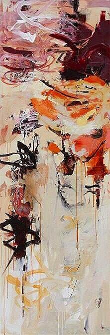 "Opus 22, Oil, acrylic, ink, alkyd & wax on canvas,  60"" x 22"""