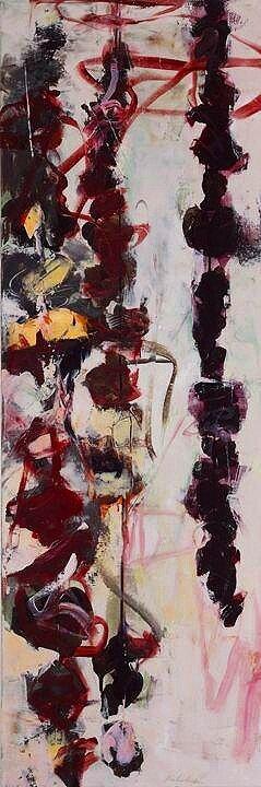 """Opus 26, Acrylic, ink, alkyd & wax on canvas, 60"""" x 22"""""""