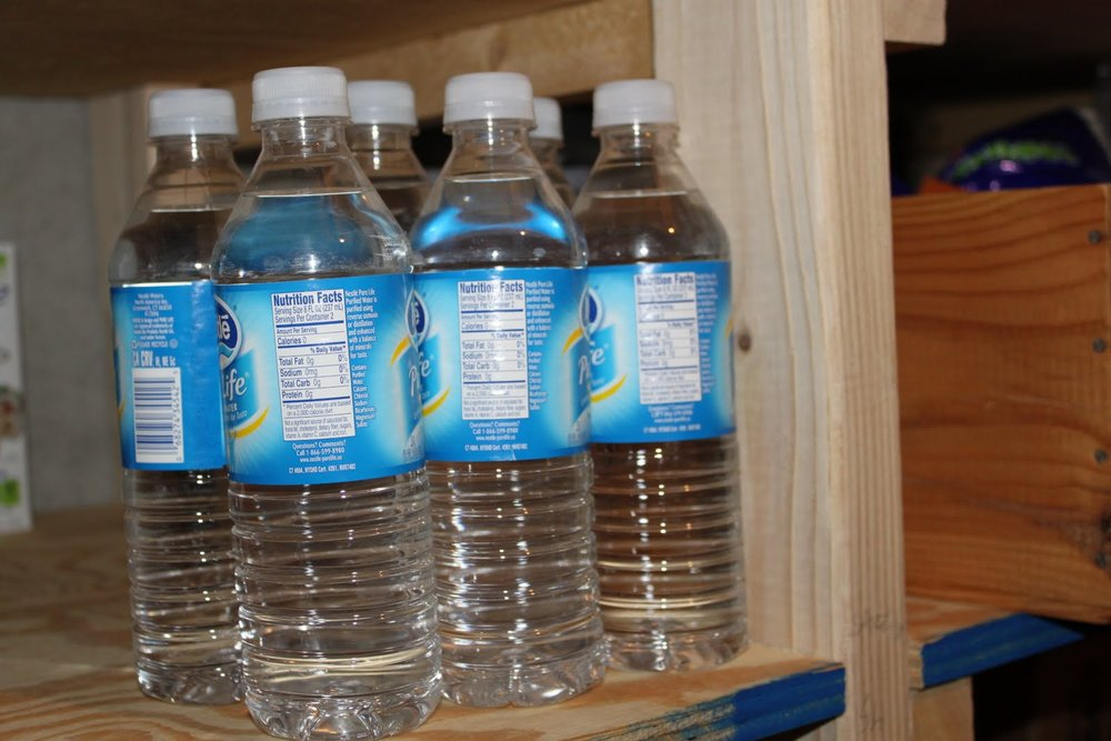 Clear spring-water bottles work, but the water inside is not chlorinated.