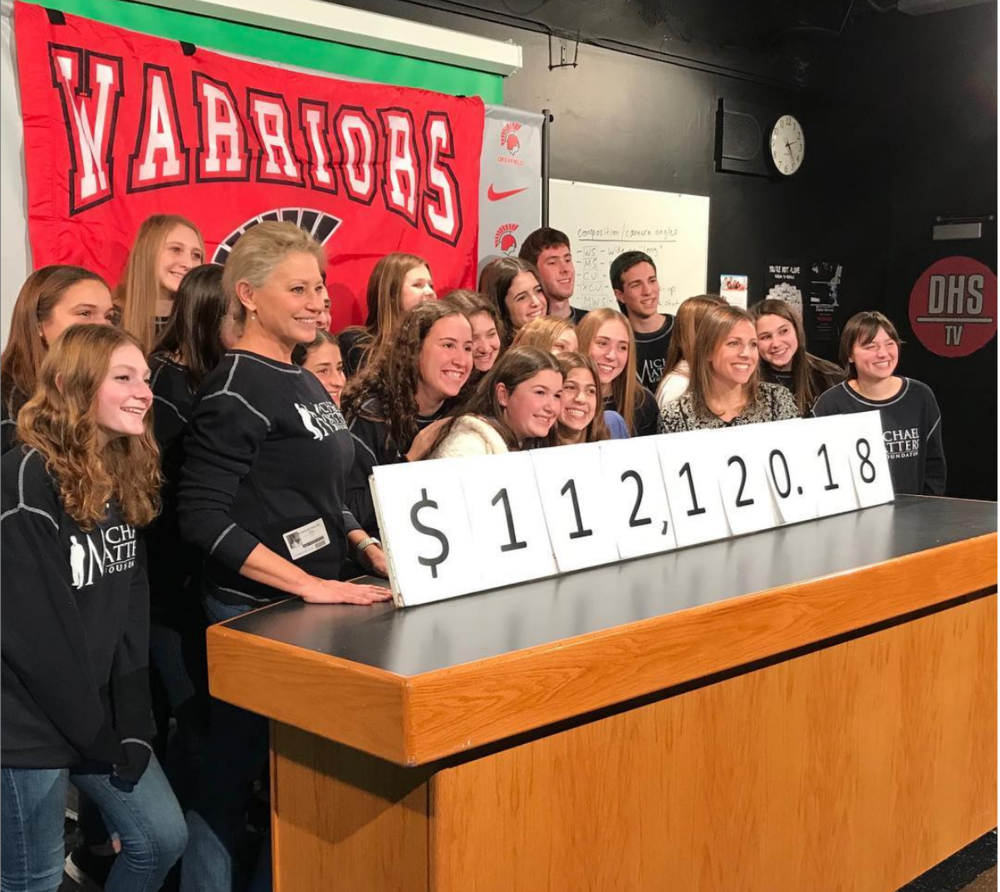 In the DHS TV room for the final reveal of money raised for MMF (Pictured: DHS Student Council Members, Board Members Jackie Bange and Marisa Schostok)