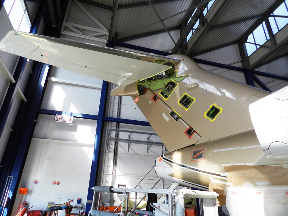 Bombardier Challenger 300 CL300 undergoing 8C maintenance inspection