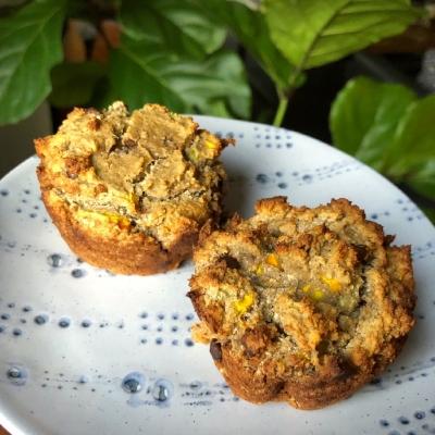 Chocolate and yellow zucchini muffins