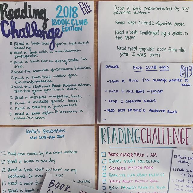 This weekend on our retreat, @ktfank challenged us all to make our reading list a little more interesting this year. Here's what we came up with, but I'm very interested to know how you challenged yourself to read harder this year? . . #thebookshipproject  #readharder  #bookclub
