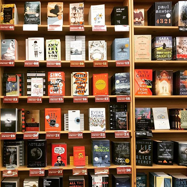 The sight of so many good books together literally makes me drool. What can I say? I'm gross but I'm well-read. . . #thebookshipproject  #powellsbooks