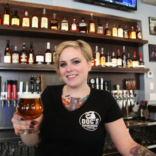 bartender-serving-beer-at-DOCs-Smokehouse-Craft-Bar-Dyer-IN