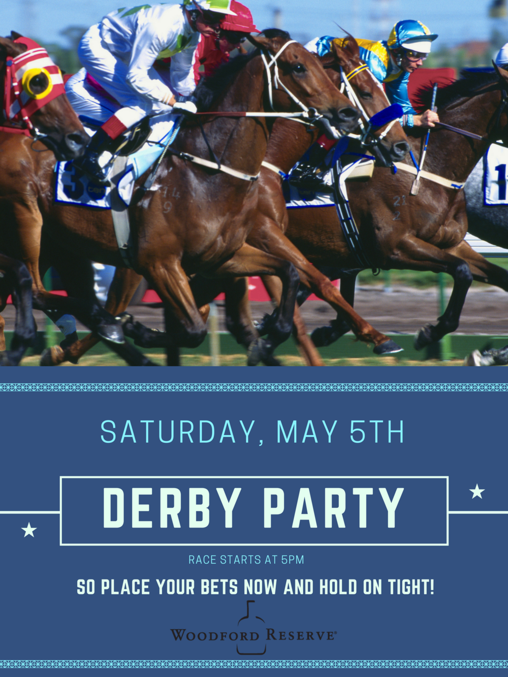 Blue Monochrome Horse Racing Poster.png