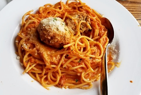 2/$45 Deal - Two Lunch Portions of any Pasta, Two Red Gravy Salads and Two Glasses of Wine (Additional Charge for Tutto Mare, Pescatore & Stroganoff)