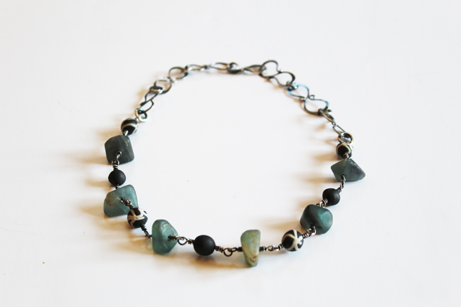 Fluorite & Ceramic Bead Necklace
