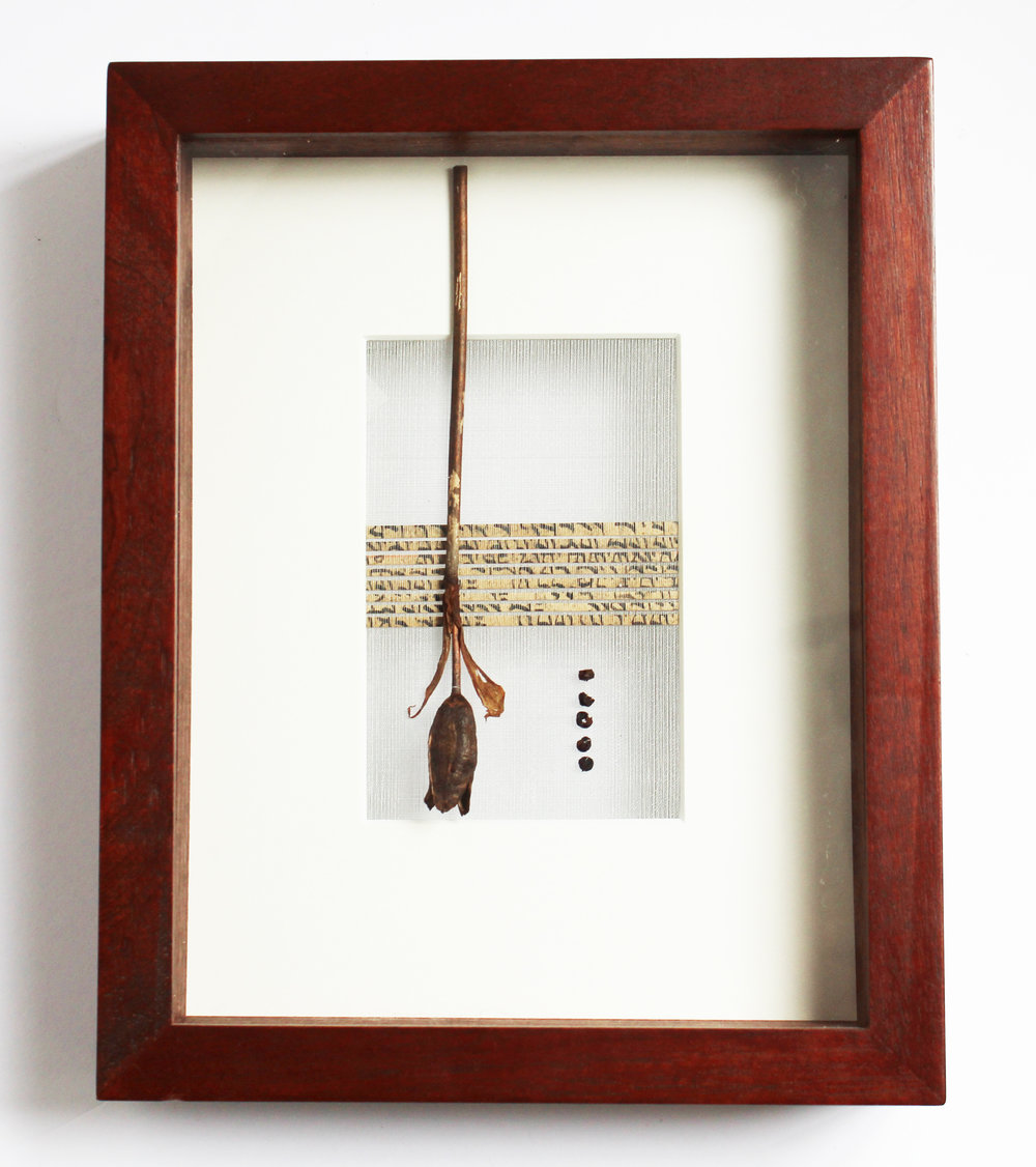 Handwoven silk, stainless steel, and antique Persian text with iris
