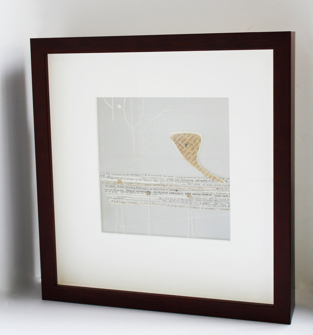 Handwoven silk, stainless steel, and antique text with stitched luna moth