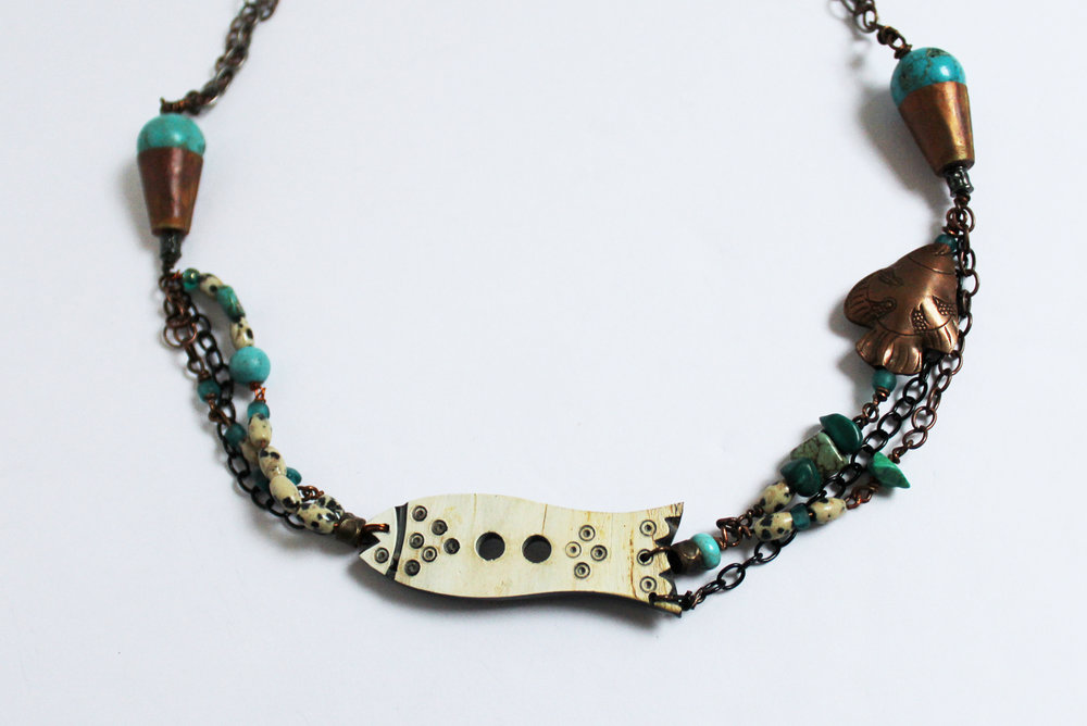 Fish, Turquoise, Copper, and Stone Necklace