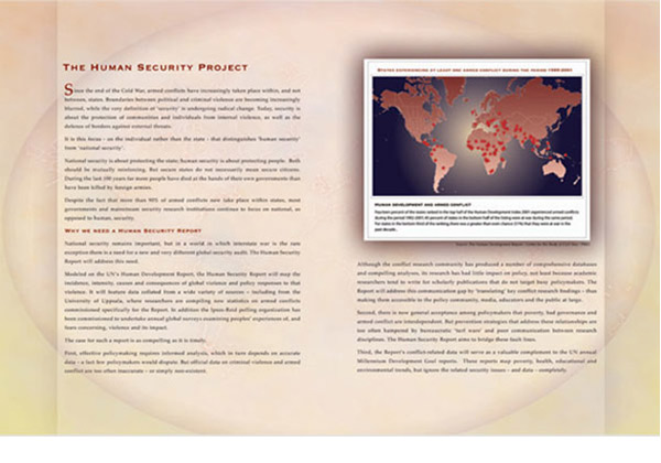 The Human Security Report (Brochure inside spread) Liu Institute for Global Issues, 2003