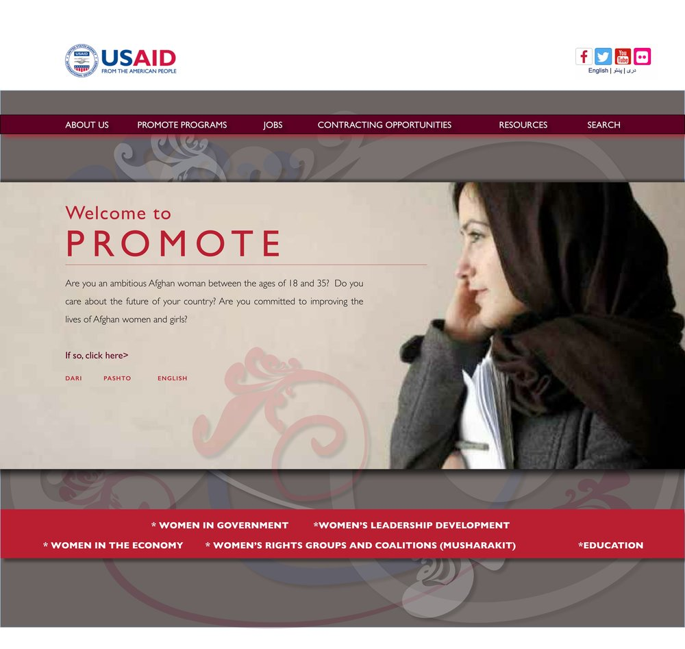 USAID Promote Website Homepage