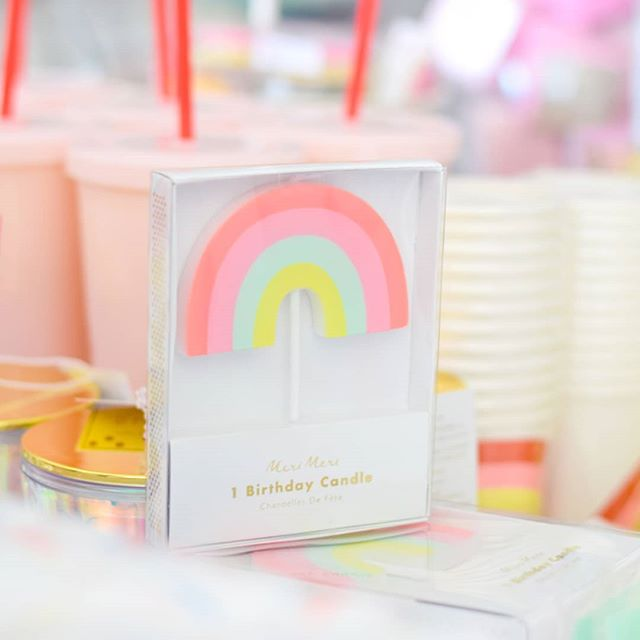 We've been restocked on tons of fan favorites including these adorable rainbow candles! Stop by tomorrow between 9am - 1pm! 🌈