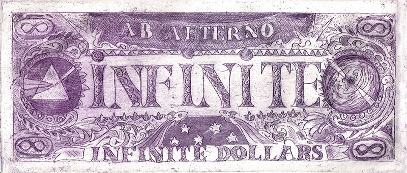 'Infinite Dollar Bill' (Front).  3x7''.  2013