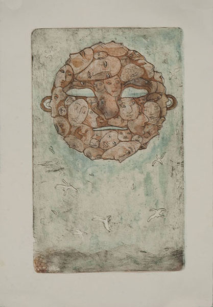 'Mass Mask'.  3- Plate Etching.  11x30''.  2013.