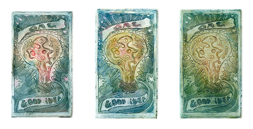 'Good Idea'. Etching with hand coloring.   2x3.5'' 2015.