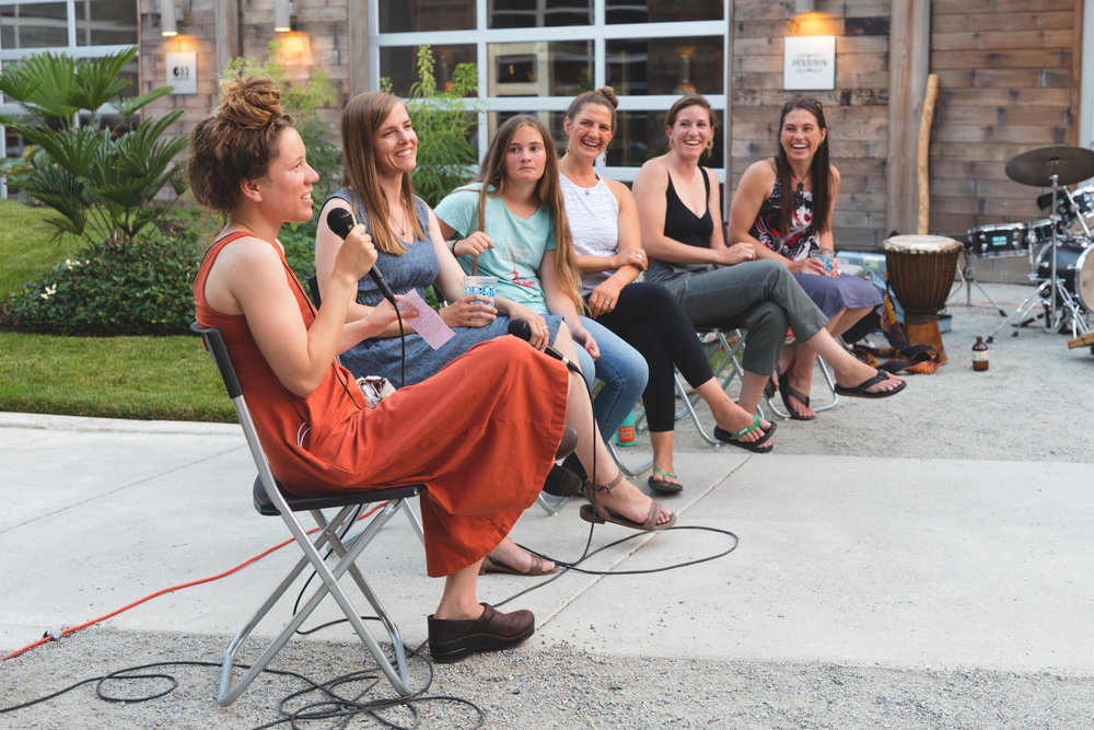 Discussion Panel: (L to R) Brianna Ortega, Meade Krosby, Layla Schroeder, Olivia Schroeder, Lyndsey Faulkner, Leslie Palotas. Photo by Tyler Feague.