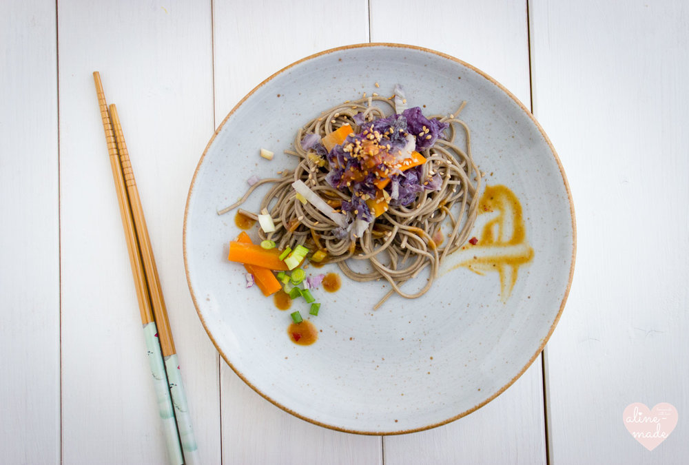 Veggie Soba Noodles with Miso Sauce - Flat Lay
