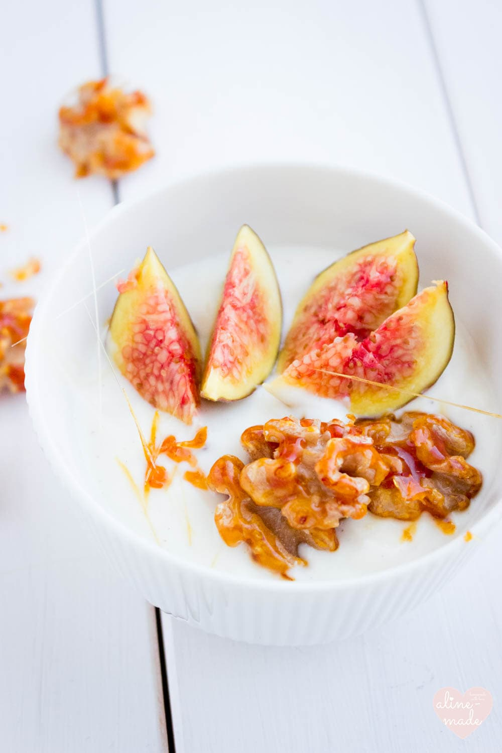 Yogurt with Candied Walnuts and Fig - Serves 1 - 15 Minutes