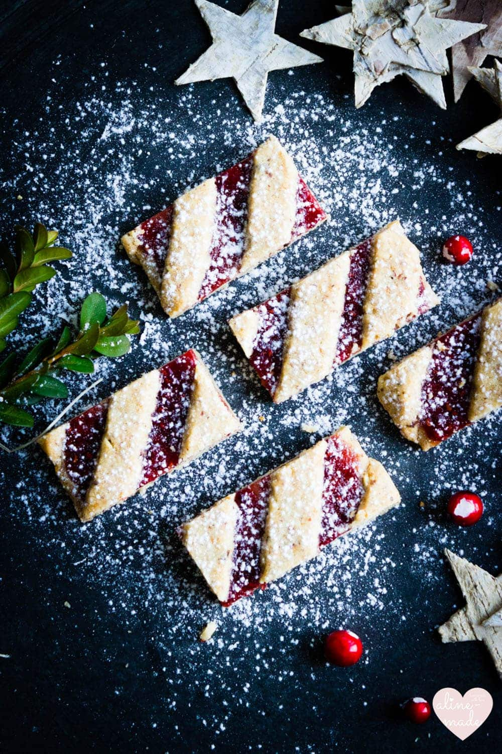 Linzer Christmas Cookies - Sprinkled with confectionar's sugar