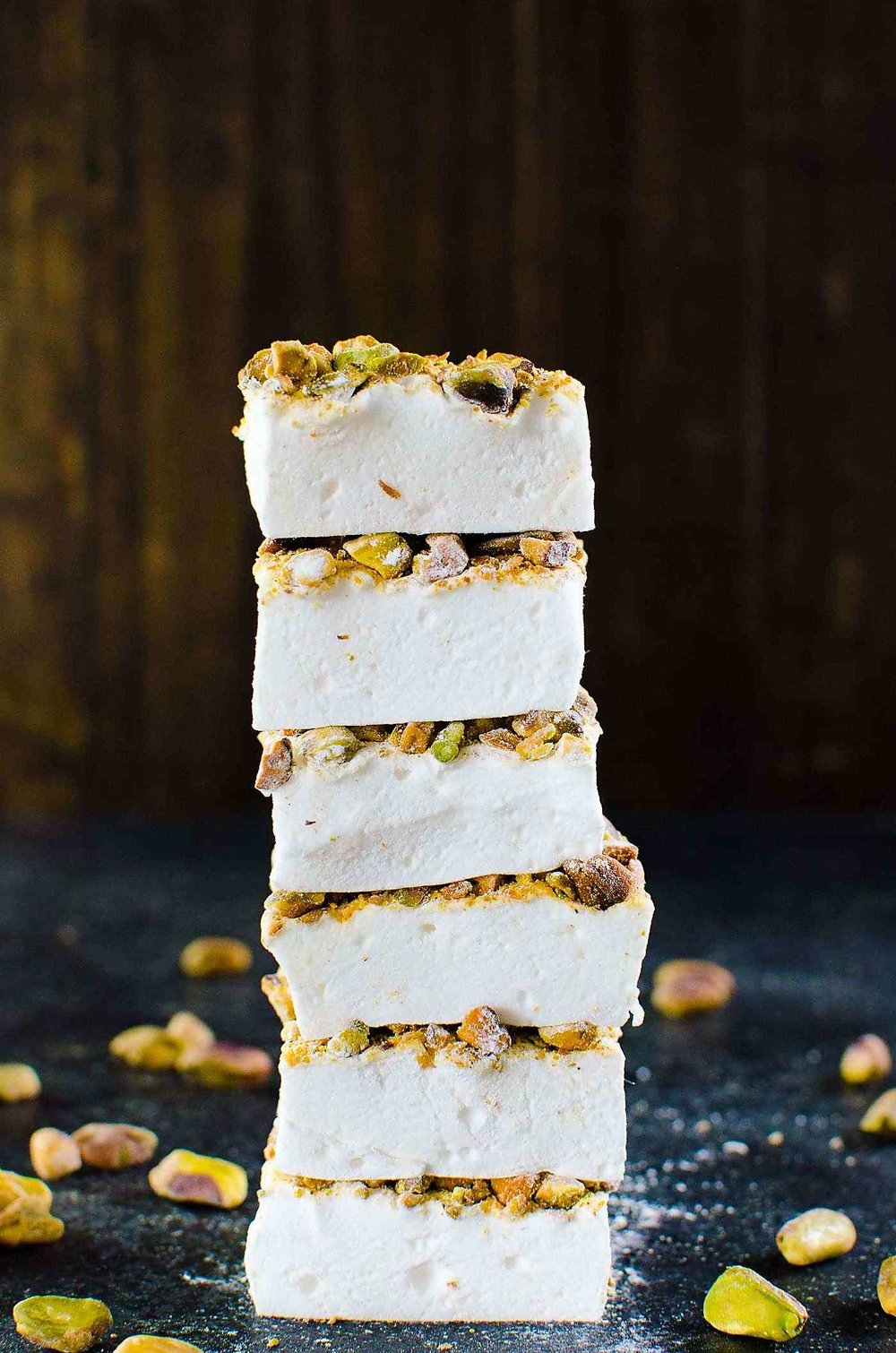 Orange Blossom Marshmallows with Pistachios