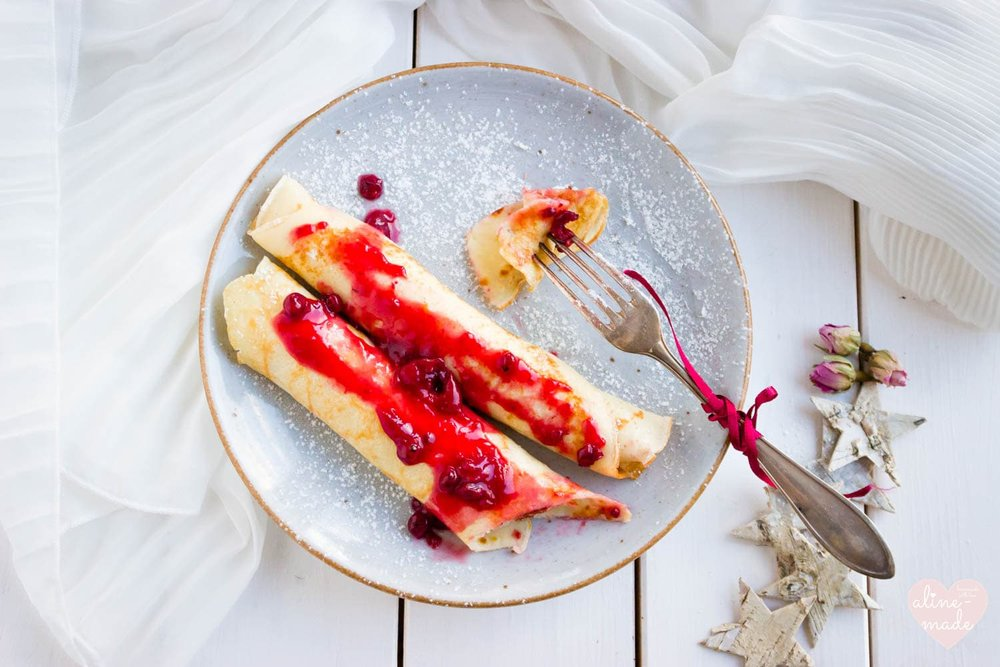 French Crepes served with Berry Sauce