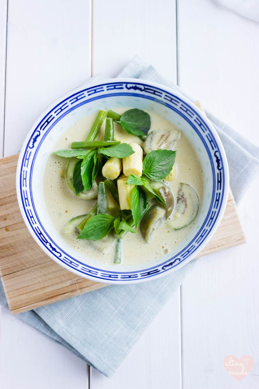 Vegan Thai Green Curry - Served with Thai basil.