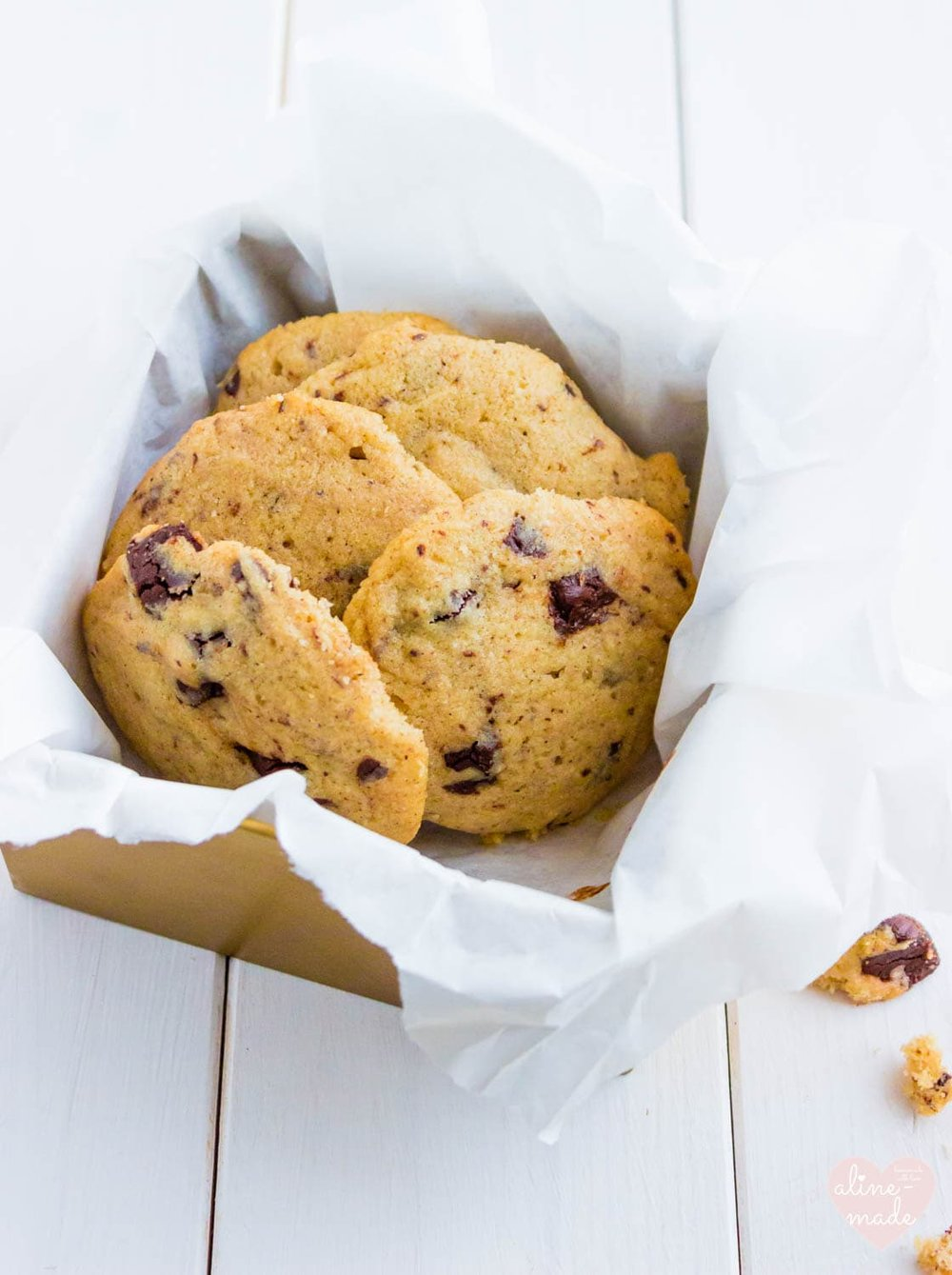 Pecan Butter Chocolate Chip Cookies - Stored in a golden box.