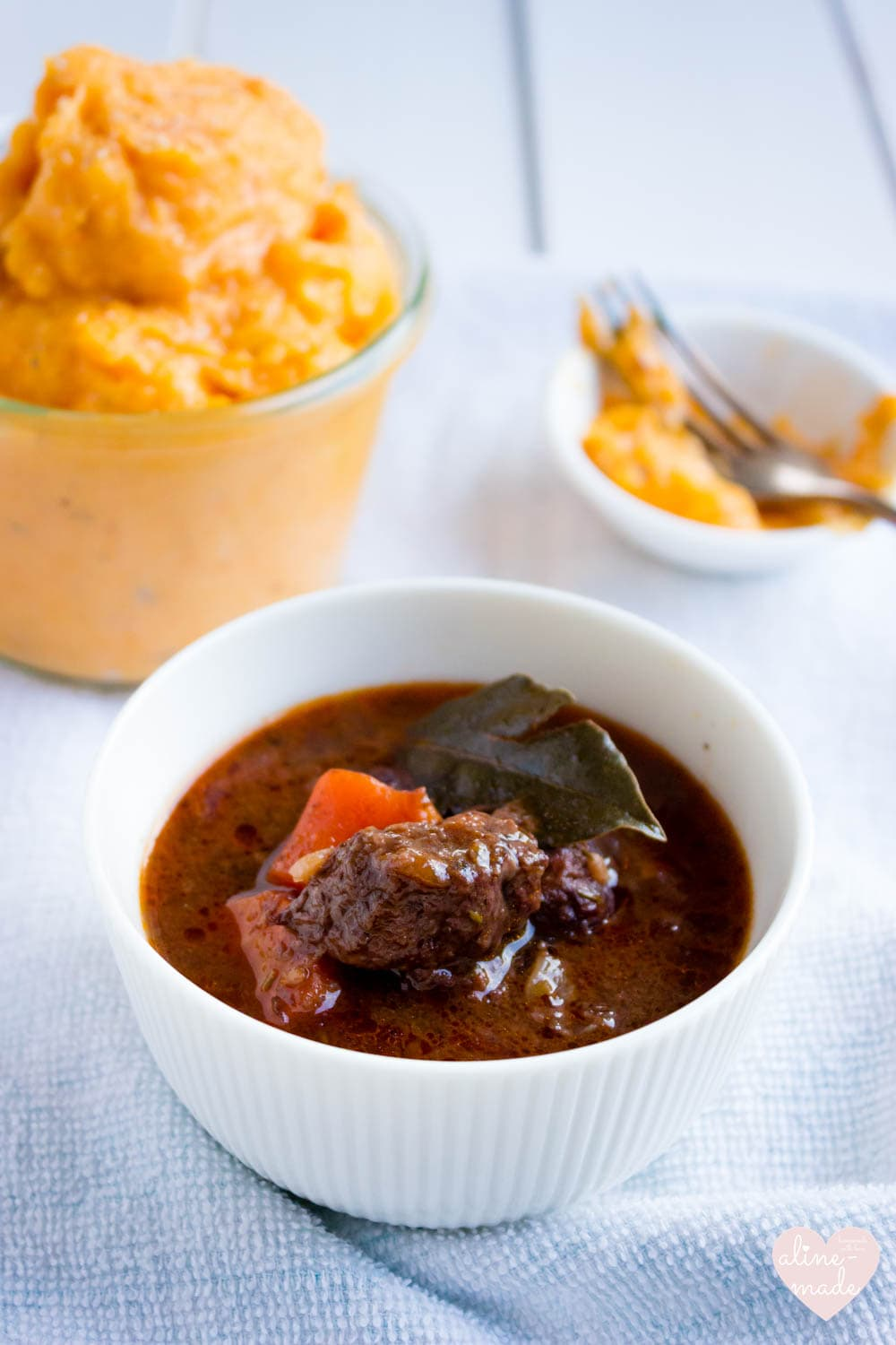 Red Wine Beef Stew - Served with Steamed Mashed Sweet Potatoes