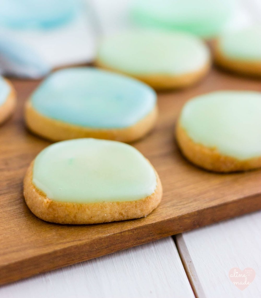 Butter Cookies with Pastel Glaze - Blue and Mint Green