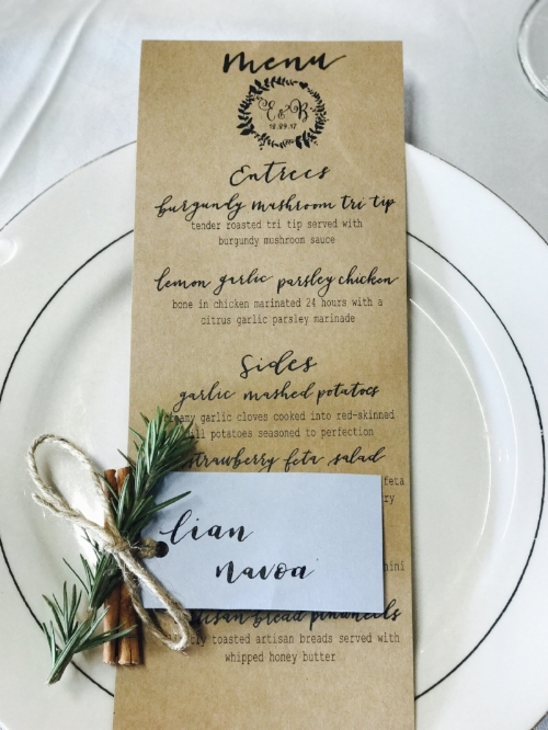 Printable Wedding Menu starting at $25