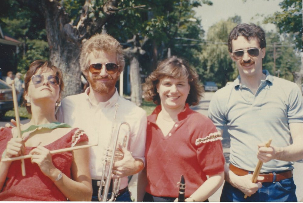 Marianne, Charlie, Cathy, and Jim playing on St. Anthony's Day in Cortland (1986)