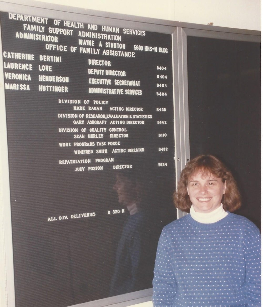 First executive position in government, Director, Office of Family Assistance (1987).