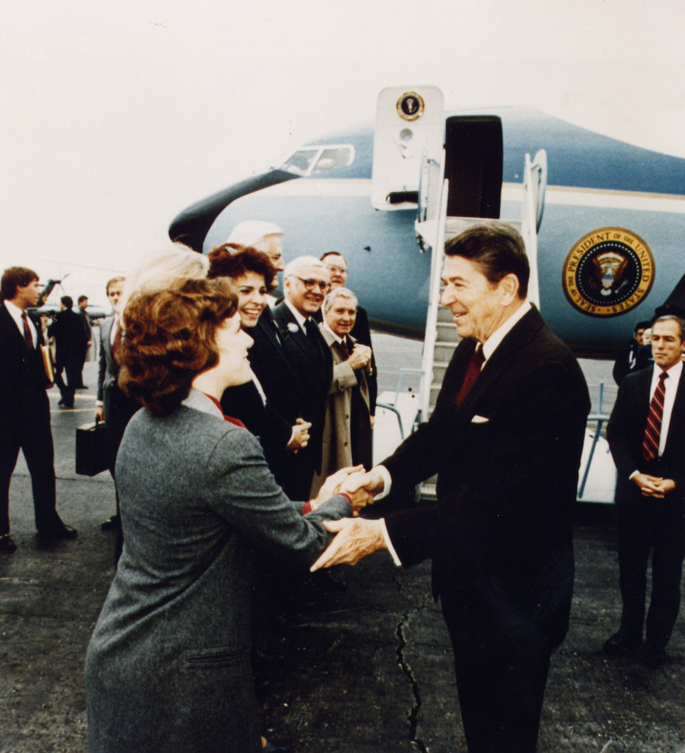 Greeting President Reagan in Chicago with Judy Baar Topinka and others (1984)