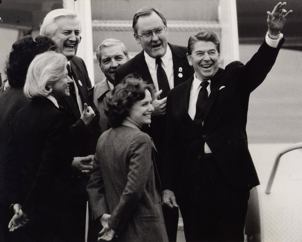 Greeting President Reagan as he arrived in Chicago, also with Governor James R. Thompson, Senator Charles Percy, Congressmen Henry Hyde and Loleta Didrickson (1984)
