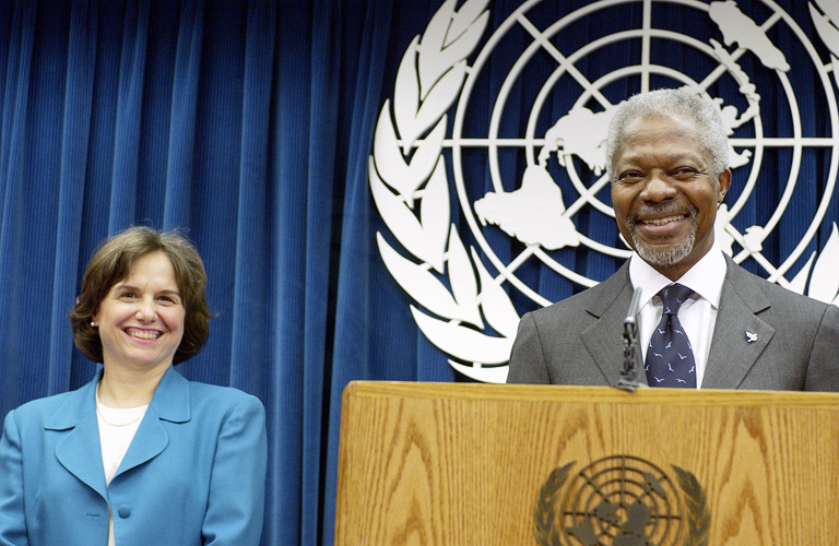 UN Secretary General Kofi Annan announcing the appointment of Catherine Bertini as Under Secretary General for Management (2002).